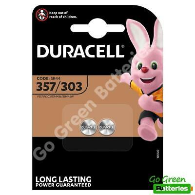 2 x Duracell 357 / 303 1.5V Silver Oxide Watch Battery D357H D357/303 V303 SR44