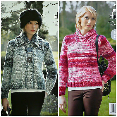 KNITTING PATTERN Ladies EASY KNIT Long Sleeve Jumper & Jacket Super Chunky 4288