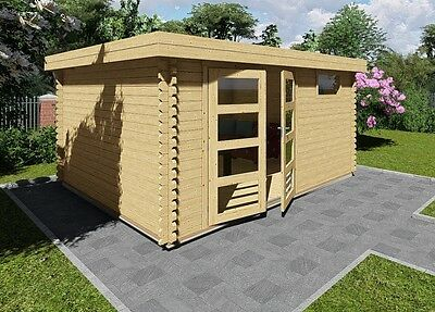 gartenhaus aus holz mit vordach 2 1m blockhaus 6x3m 2 1m 40mm madrid 40010 eur. Black Bedroom Furniture Sets. Home Design Ideas