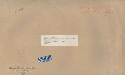 1960 Saab Aircraft Sweden ORIGINAL EMPTY Factory Mailing Envelope wv9708