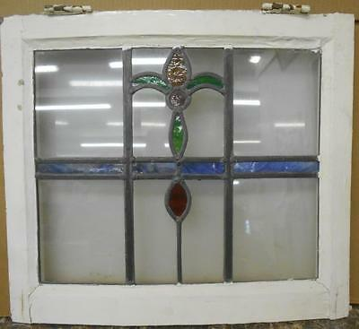 "OLD ENGLISH LEADED STAINED GLASS WINDOW Curved Frame Abstract Design 20.5"" x 18"""
