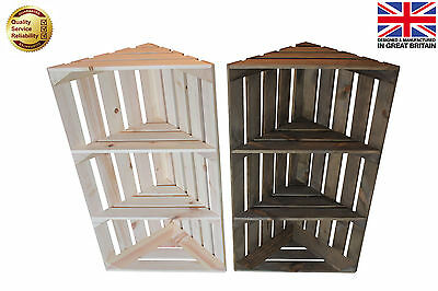Wooden Crate Corner Unit Apple Vintage Style Shelf Display