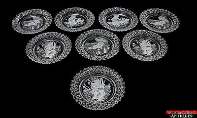 ANT EAPG Pattern Glass Nursery Rhyme Child Plates Set 8 Boy Blue Mary Muffet L7Y