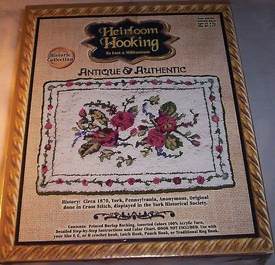 "Heirloom Latch Hooking Rug Kit Colonial Roses 20x27""  #60504 Historic Collection"