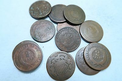 (3) Two Cent Piece (2 Cent) Lot // Low Grade - Cull // 3 Coin