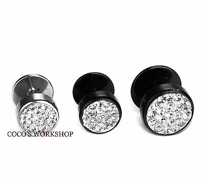 MENS WOMENS  STAINLESS STEEL 10mm / 8mm SCREW BACK CRYSTAL ROUND STUD EARRING