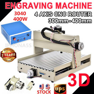 4 Axis CNC 3040 Router 400W ENGRAVER DRILLING MILLING 3D CUTTER MACHINE+A axis