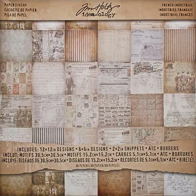 "Tim Holtz Idea-Ology Paper Stash/ Pad French Industrial 12""X12"" 30,5x30,5 cm 36T"
