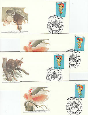 1981 Melbourne Cup horse race postmark on set of 4 animal covers Munro stamp