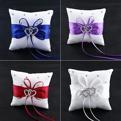Stylish Wedding Bridal Bowknot Double Heart Ring Bearer Pillow Cushion