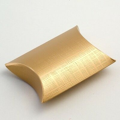 gold TEXTURED PILLOW BUSTINA WEDDING FAVOUR BOXES (Choose Your Quantity Req)