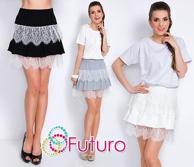 Womens Tiered Mini Skirt With Lace Flippy Pleated Party Skirt Size 8-12 FT2901