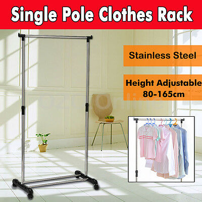 Portable Stainless Steel Single Clothes Rack Hanger Cloth Coat Garment Dryer NEW
