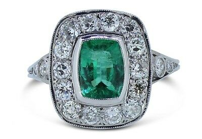 Vintage Emerald and Old Cut Diamond Cluster Ring 1.20ct + 0.85ct 18ct White Gold