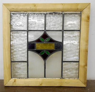 "OLD ENGLISH LEADED STAINED GLASS WINDOW Leafy Geometric Design 21.75"" x 21.25"""