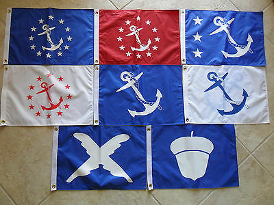"""12""""x18"""" Nautical Set: Chain Of Command Yacht/boat Flags Dbl Sided Nylon Usa Made"""