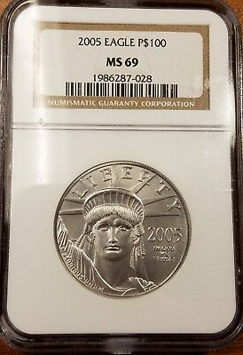 2005 1 oz Platinum Eagle $100 NGC MS69 Rare Only 6310 Minted 2nd Lowest Year