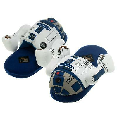 Star Wars R2D2 Plush Slippers Slide Slip On Adult Costume Sandals Shoes S M L Xl
