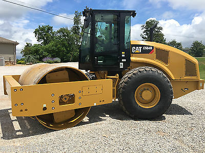 2015 Cat C64B Smooth Drum Roller 9 Hrs. Cab AC & Heat Diesel Vibratory Compactor