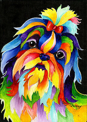 Shih Tzu Original 5x7 Acrylic Framed DOG Painting by Sherry