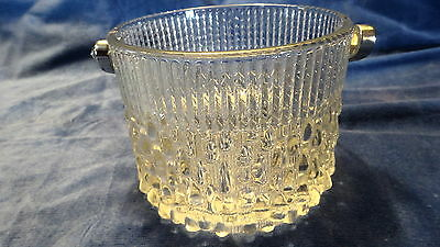Vntg. Ice Bucket W/ A Teardrop And Herringbone Design Mkd. By Teleflora France