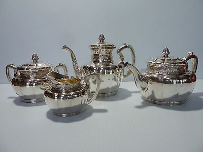 Gorham Sterling 4 Piece Tea/coffee Set 1891 Mark, Rayed Blossom & Leaf Band