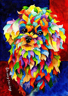 Party POODLE TOO Original 5x7 Acrylic Framed  DOG Art by Sherry