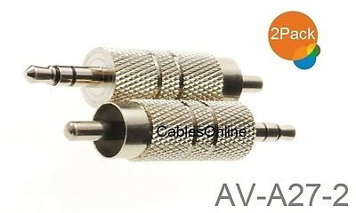 "2-Pack 3.5mm 1/8"" TRS Stereo Male to RCA Male Metal Adapter, AV-A27-2"