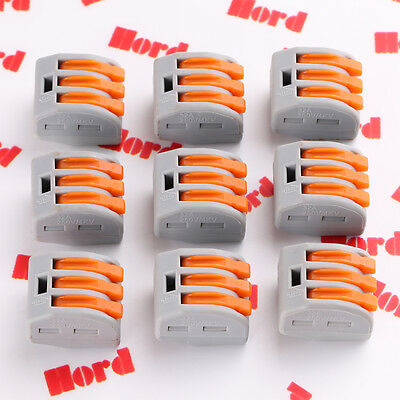5/10pcs 3Way Reusable Spring Lever Terminal Block Electric Cable Connector Wire
