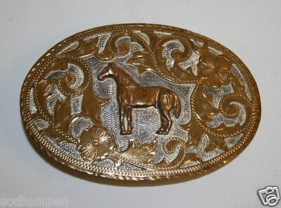Vintage Tex Tan Equestrian Horse Award Gold Engraved Silver Plated Belt Buckle