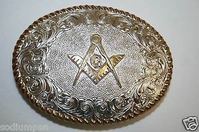 Vintage Silver Plated FREEMASONS CRUMRINE Western High End Belt Buckle