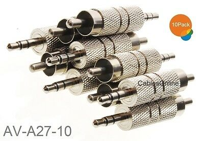 "10-Pack 3.5mm 1/8"" TRS Stereo Male to RCA Male Metal Adapter, AV-A27-10"