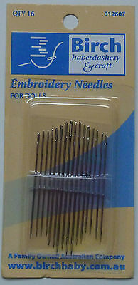 Birch Embroidery Needles for Dolls - 16 Needles