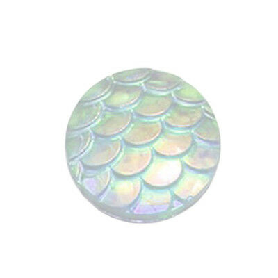ZMM100 pcs AB Flatback Resin Fish Scale Round Cabochon 12mm High Admiration