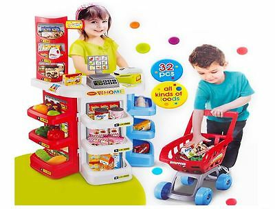 Kids Deluxe Supermarket Toy Set with Shopping Trolley EFTPOS Electronic Scanner