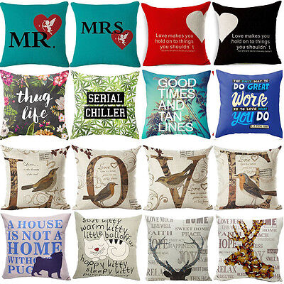 Pillow Cases Declaration of love Cotton Linen Pillow Cover Sofa Cushion Covers