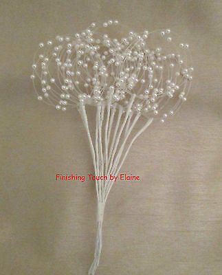 12  White Wired stems of pearl bead hoop sprays. Wedding bouquets.. DECORATIVE