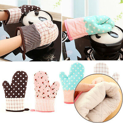 Mitts Microwave Oven Kitchen Heat Resistant Cotton BBQ Baking Glove Cooking Pot