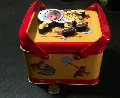 1999 metal curious George box with magnet