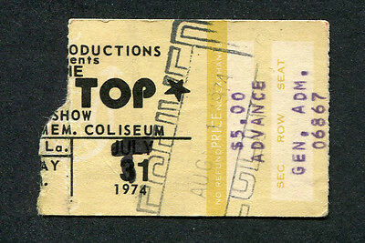 Original 1974 ZZ Top concert ticket stub Louisiana Tres Hombres