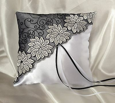 H MADE WEDDING RING PILLOW/WHITE/IVORY/BLACK&WHITE FLORAL LACE/19x19cm/7.5x7.5''