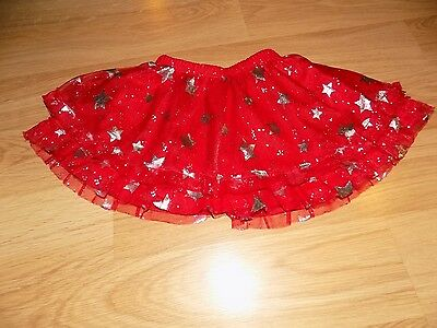 Size 18 Months Red Metallic Silver Stars Tutu Skirt 4th of July Holiday EUC