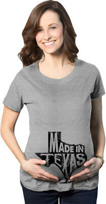 Maternity Made In Texas T-Shirt Funny Hometown Pregnancy Announcement Tee (Grey)