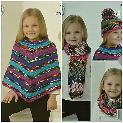KNITTING PATTERN Girls Easy Knit Poncho Scarf, Cowl & Bobble Hat Chunky KC 4242