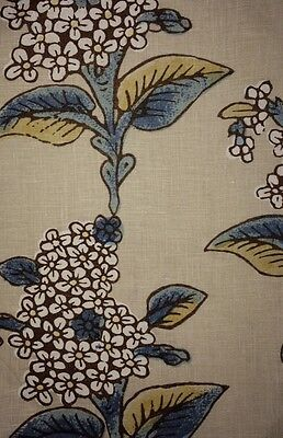 ROBERT KIME Lilac Lamp Linen Blue Brown Floral Remnant New