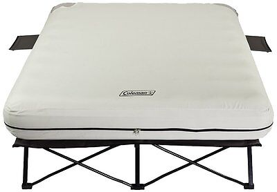 Coleman Queen Airbed Cot with Side Tables and 4D Battery Pump by Coleman HVI NEW