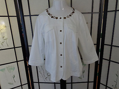 Dress Barn Size 22/24 Woman White Cotton Stretch Jacket With Bronze Snaps