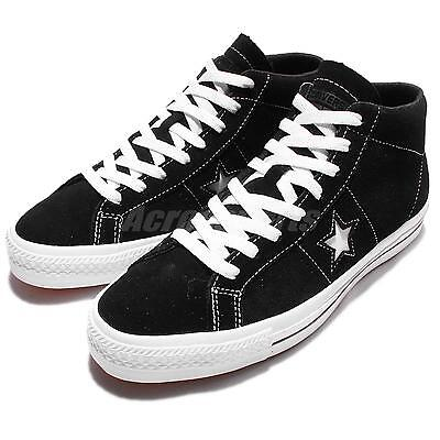 Converse CONS One Star Pro Suede Mid Black White Men Skateboarding Shoes 153472C