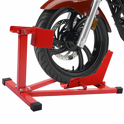 Motorcycle Front Wheel Stand Heavy Duty Chock Steel Holder Motorbike Paddock NEW
