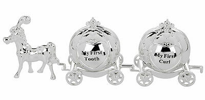 My First Tooth and Curl Cinderella Carriage Christening Gift - Silver Plated 571